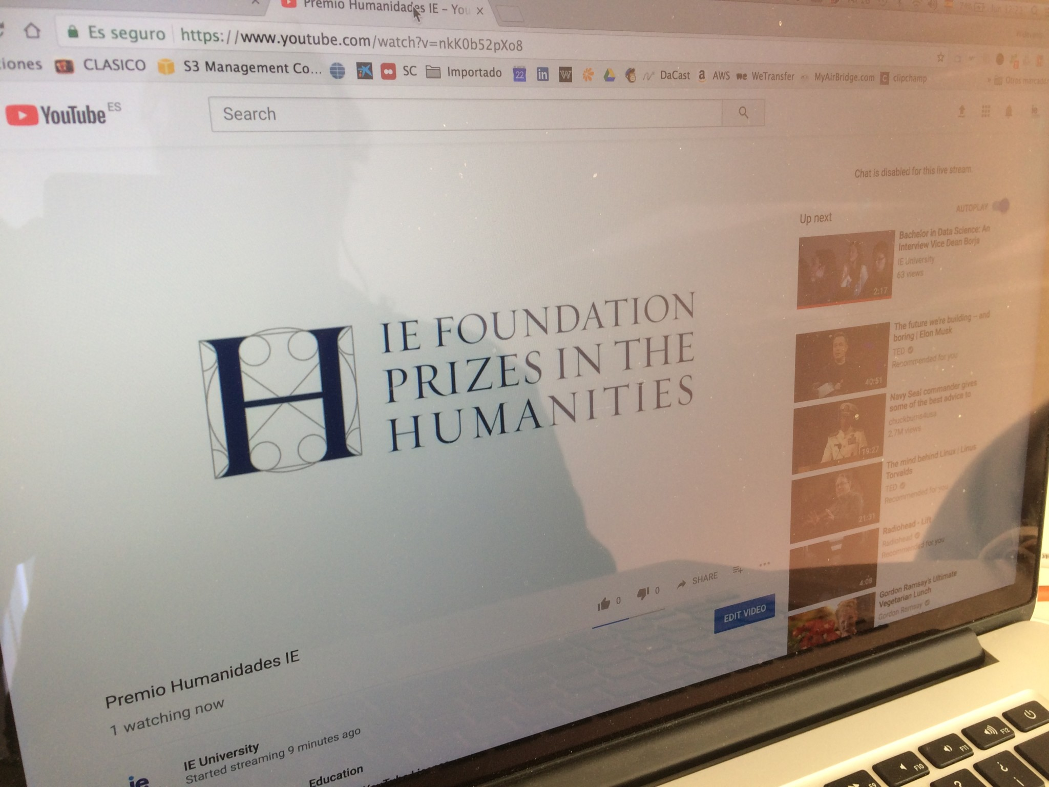 Live Streaming Premio Humanidades IE 2